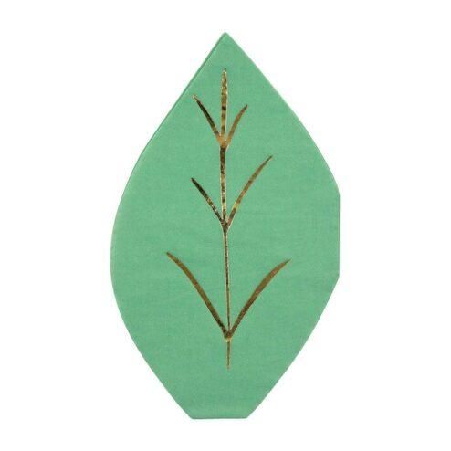 16 Papierservietten in Form eines Blattes. Farbe grün mit Goldfolienprägung