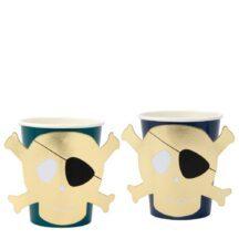 dunkelblaue Pappbecher mit goldenem Totenkopf