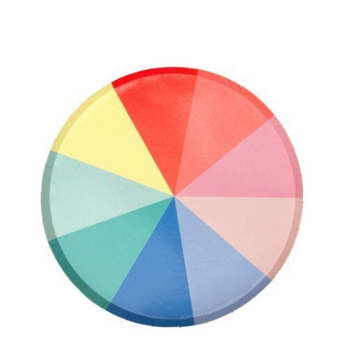 runde Pappteller in Regenbogenfarben
