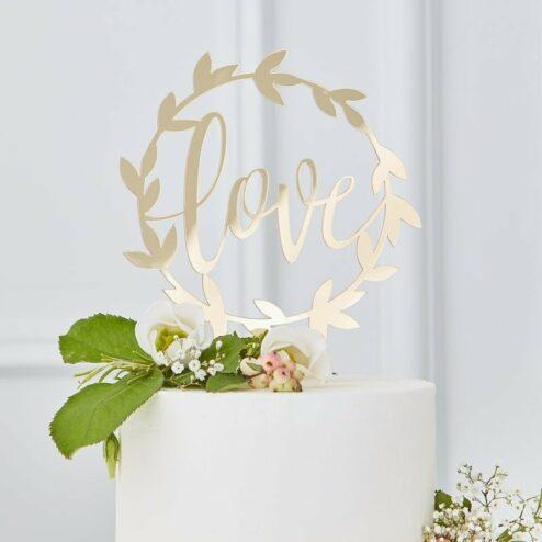 Cake Topper Love Gold Acryl