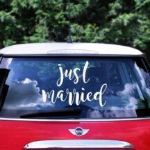 Aufkleber Hochzeitsauto 'Just married'