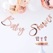 Girlande Baby Shower roségold