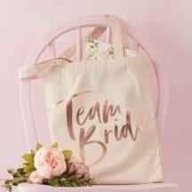 Baumwolltasche Team Bride roségold