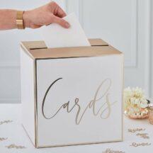 Kartenbox weiß/gold 25x25x25 cm