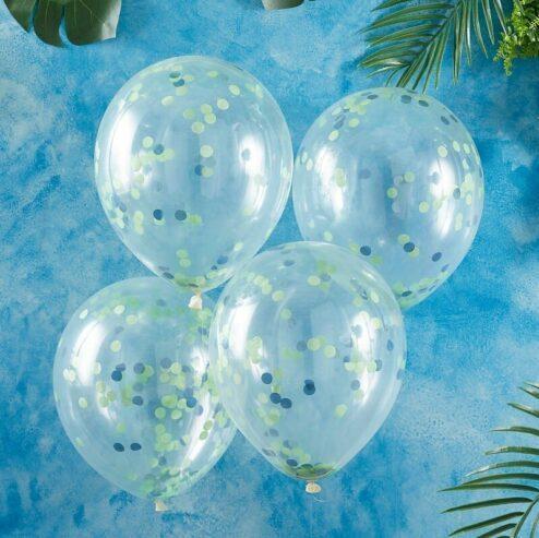 5 Luftballons gruenes und blaues Konfetti