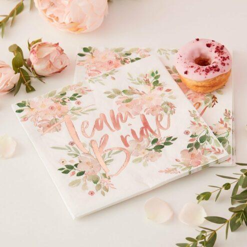 Papierserviette Team Bride Flowers