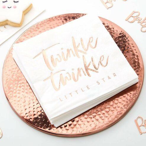 Papierserviette 'twinkle twinkle little star' roségold