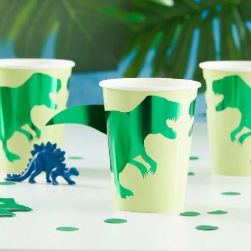 8 Dinosaurier Pappbecher fuer den Kindergeburtstag