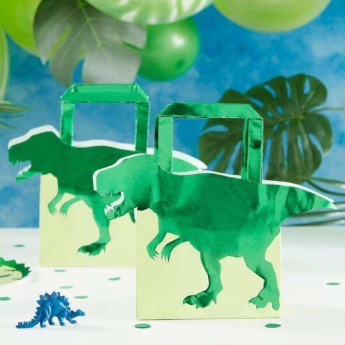 Partytaschen Dinosaurier, 5 Stueck