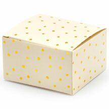Geschenkschachtel in creme mit goldenen Puenktchen