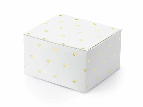 Weiße Geschenkschachtel mit goldenen Herzen