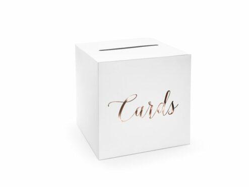 Kartenbox weiß mit roségoldener Schrift