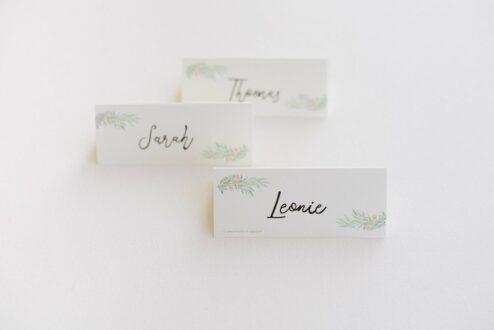 Namenskarte Taufe Hochzeit Blumen