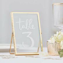 Tischaufsteller Glasrahmen Gold