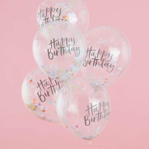 5 klare Luftballons mit buntem Konfetti Happy Birthday