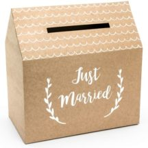 Kraftpapier Kartenbox mit aufdruck just married