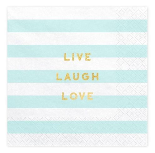 Papierserviette weiß blau gestreift Live Laugh Love