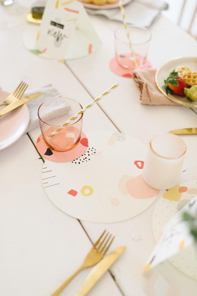 Platzset Tischset Blumen-Design Oste Weißt Du Eigentlich Wie Lieb ich Dich Hab
