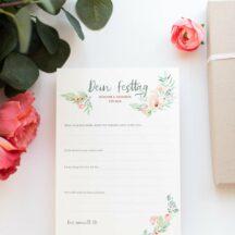 Gästebuchkarten dein Festtag floral