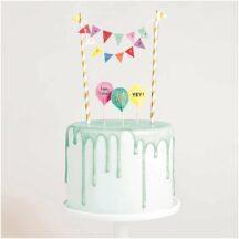 Mini Cake Topper Girlande Happy Birthday multicolor