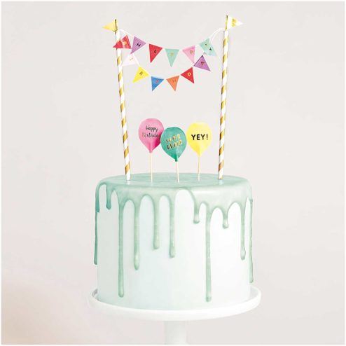 Mini Cake Topper Girlande Happy Birthday multicolor
