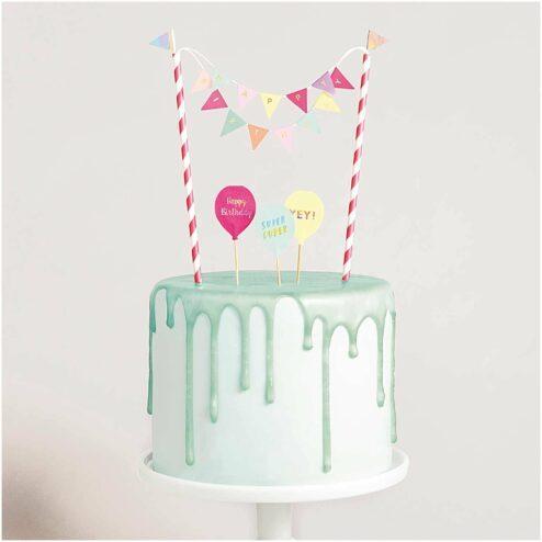 Mini Cake Topper Girlande Happy Birthday pastell