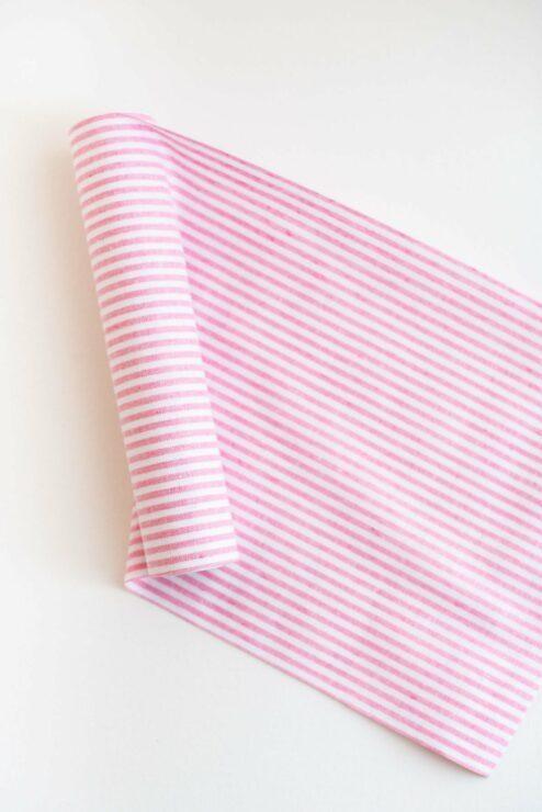 Tischlaeufer rosa-weiß gestreift
