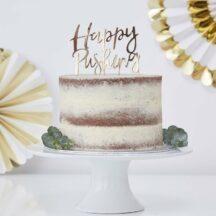 Cake Topper Happy Pushing Gold