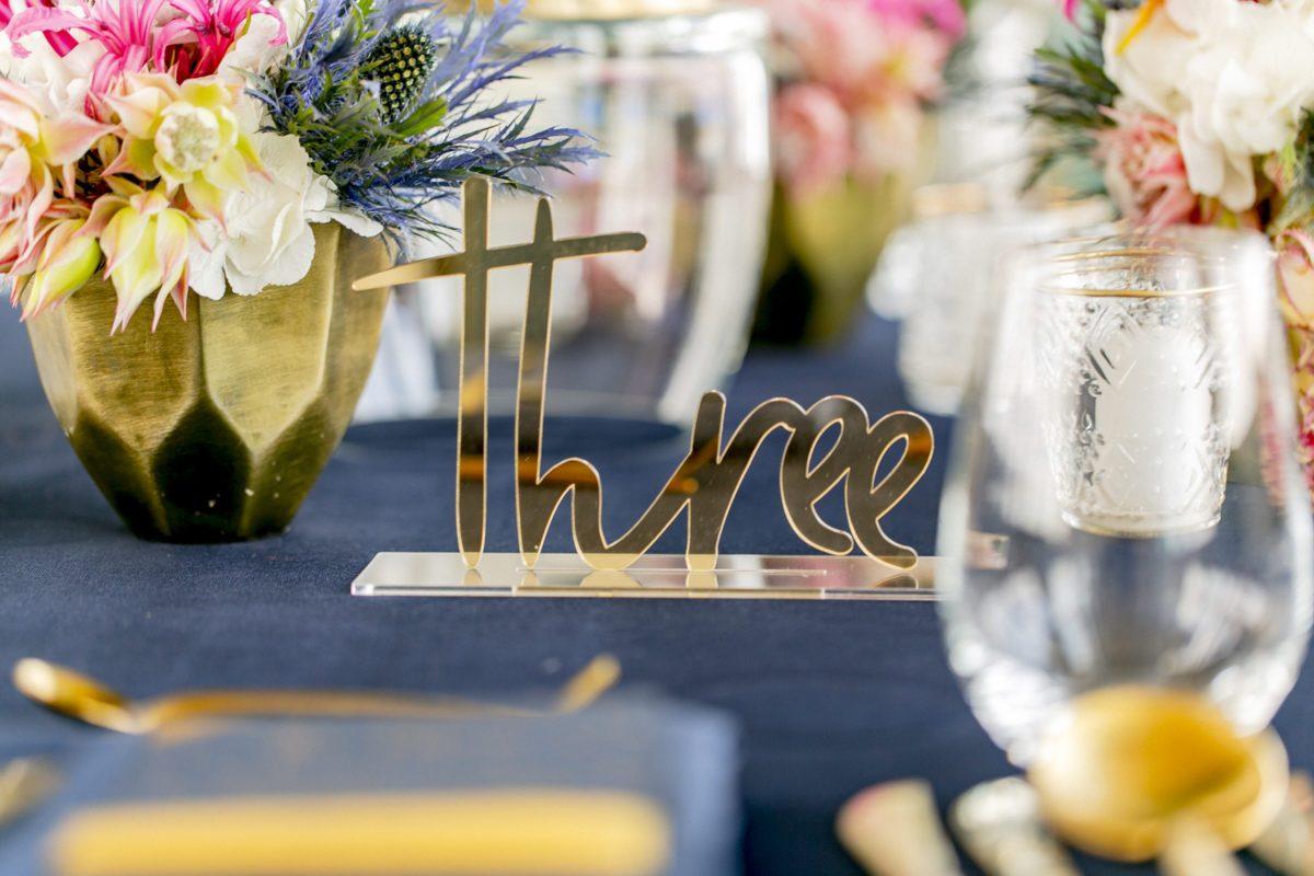Tischnummern Gold Acryl