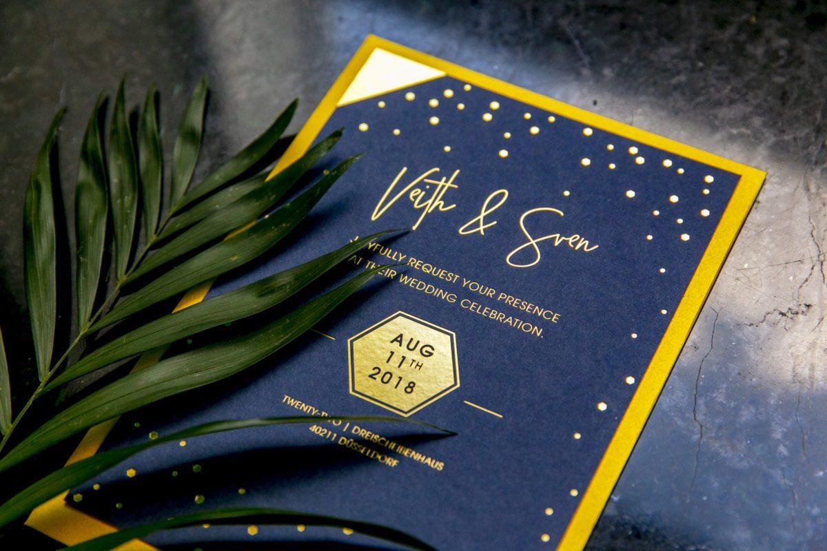 Einladung Dunkelblau Gold