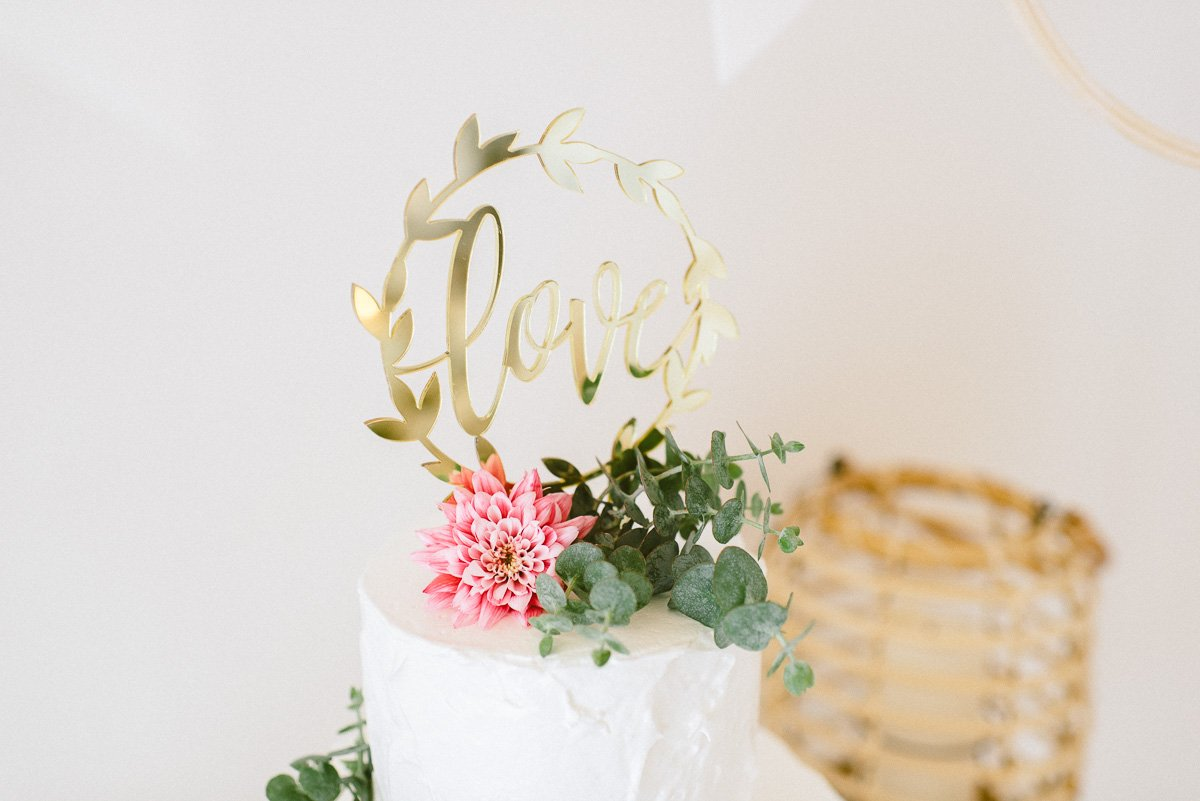 Cake Topper love Gold verspiegelt