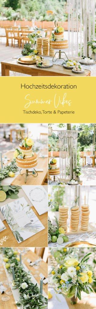 Hochzeitsdeko Sommer Olive Zitrone