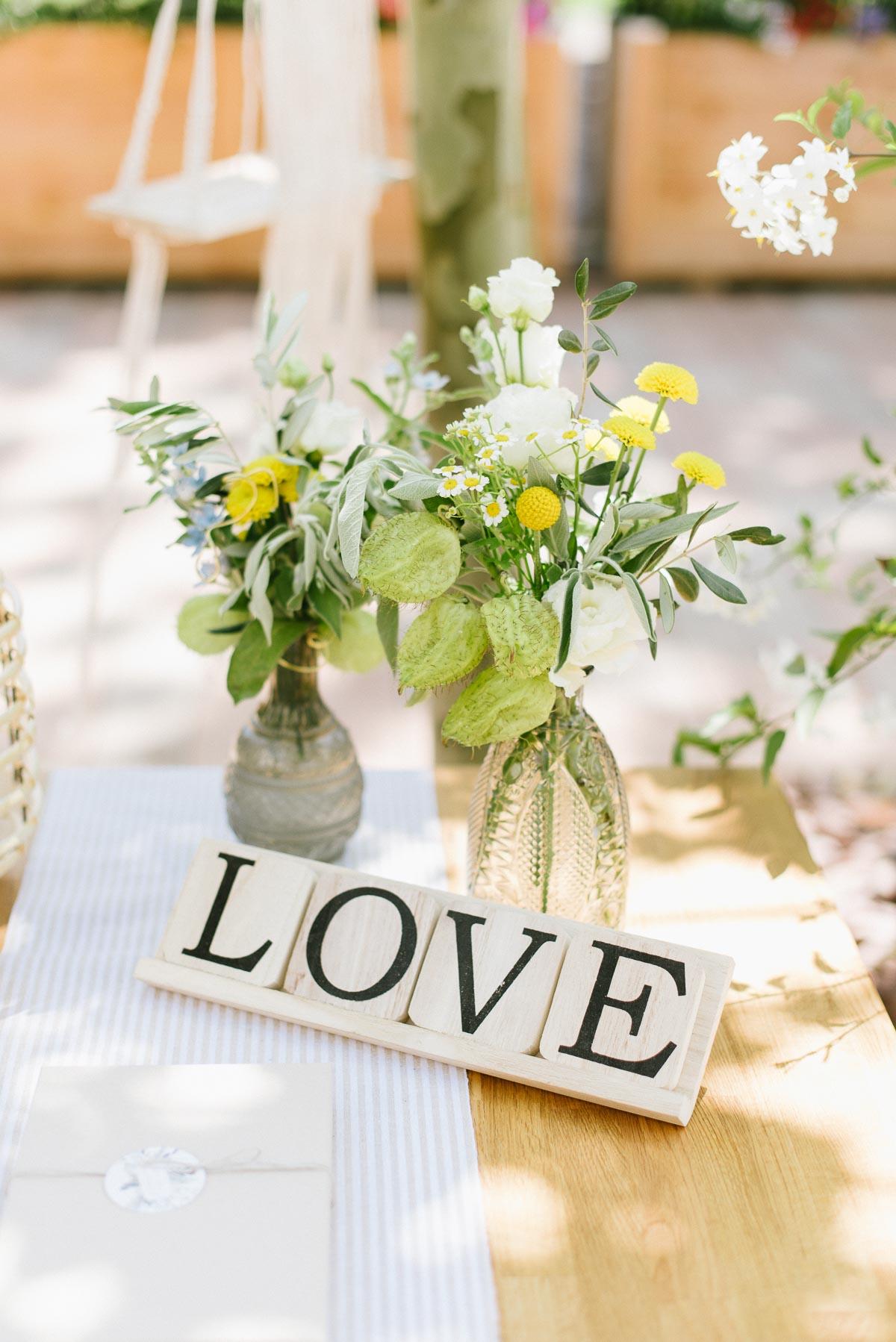 Platz für Gästebuch einer Hochzeit