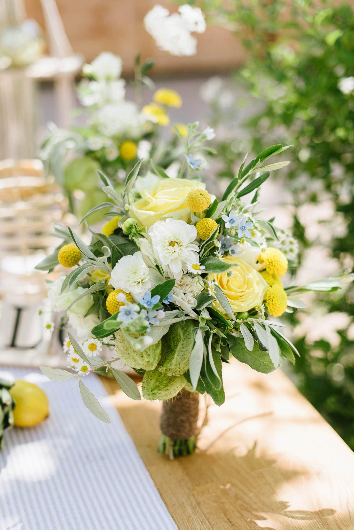 Brautsrauß in gelb, weiß, grün