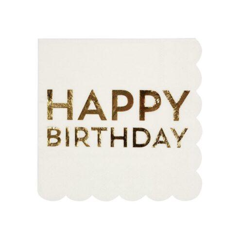Papierserviette Happy Birthday Gold klein