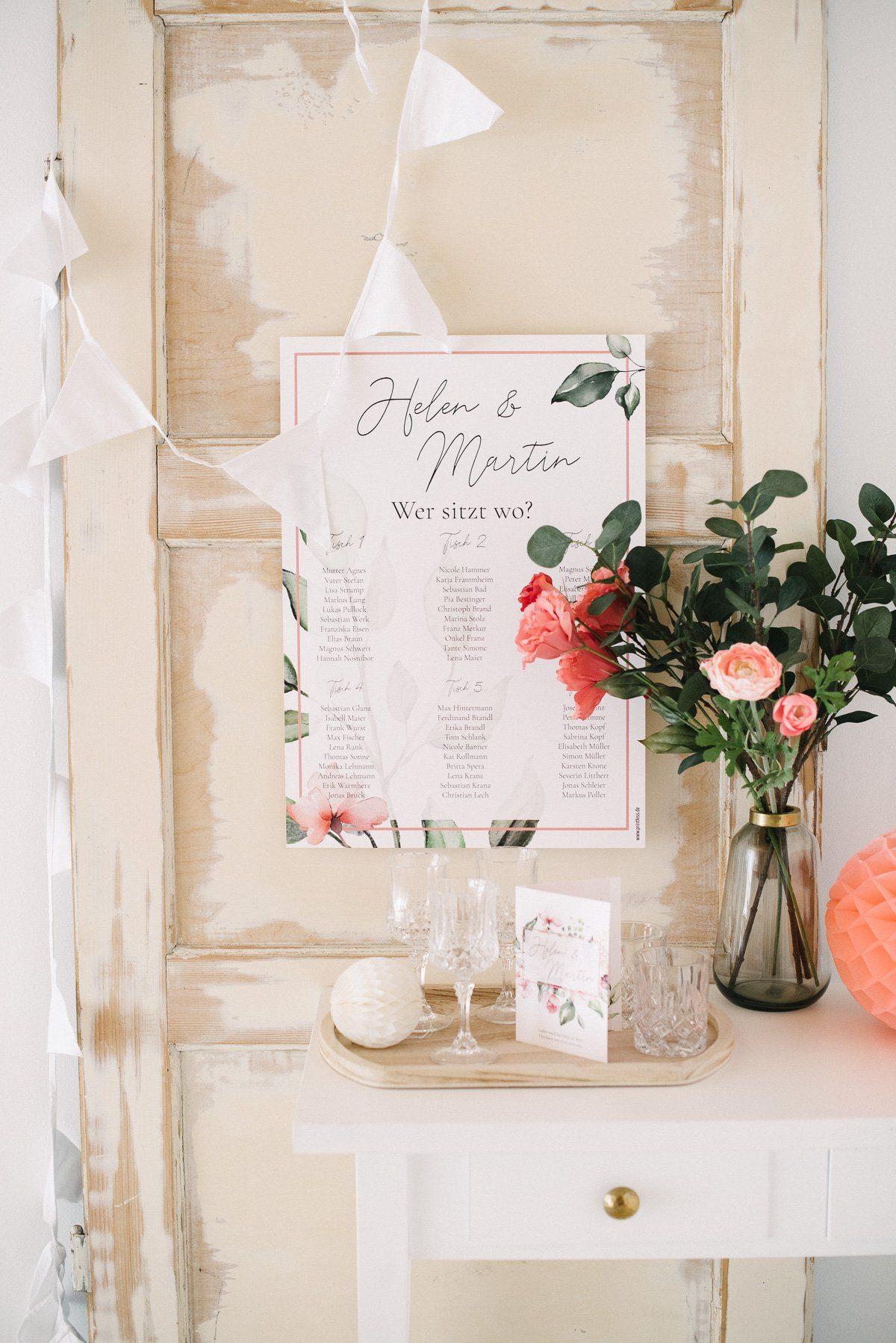Sitzplan Poster für die Hochzeit