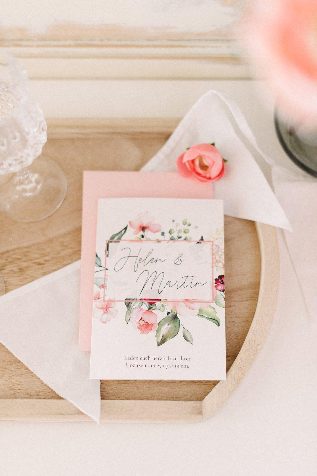 romantische Hochzeitseinladung mit Aquarell