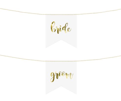 Bride and Groom Schriftzug Gold