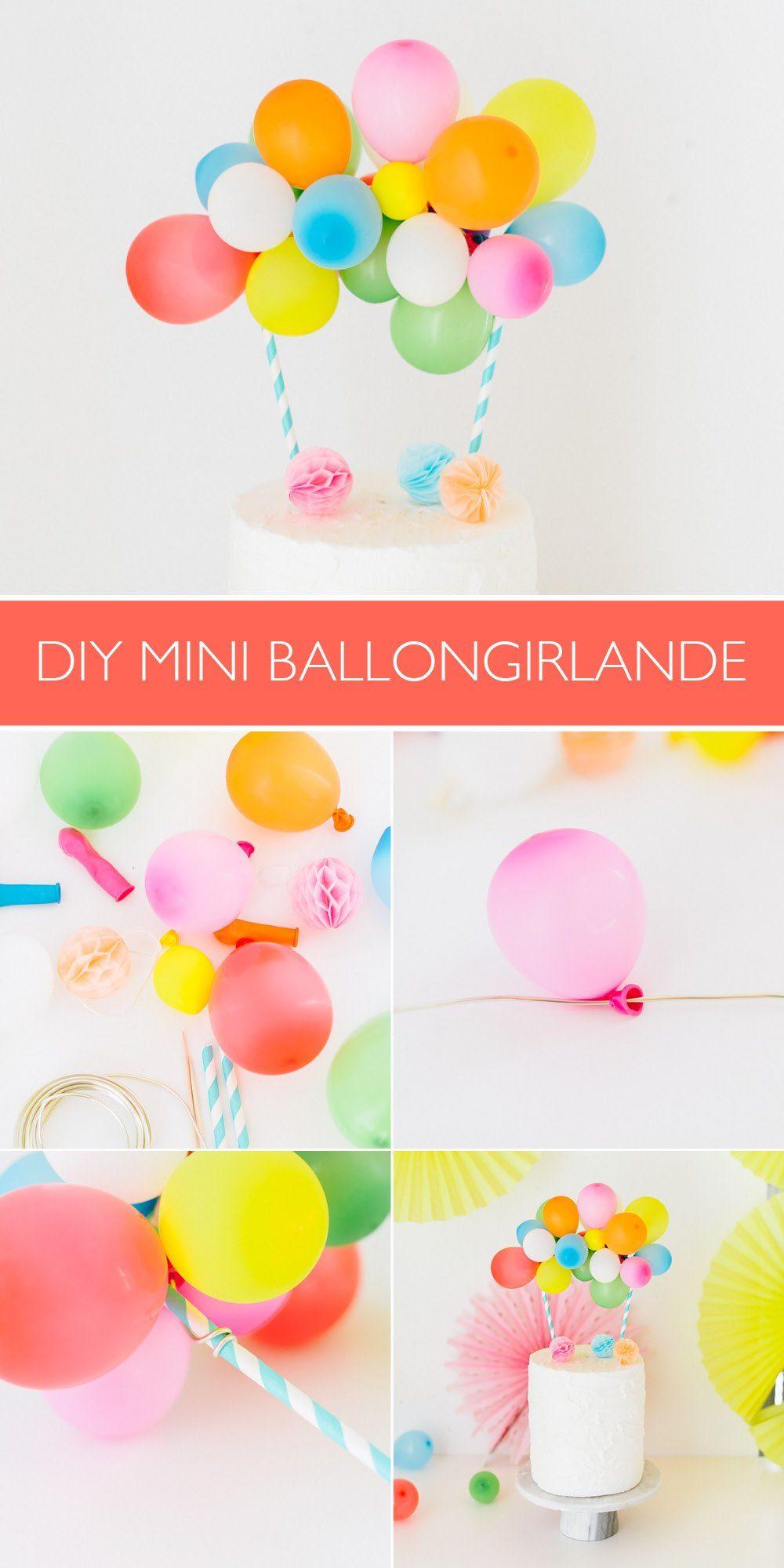 Anleitung Ballon Girlande Cake Topper für den Geburtstagkuchen