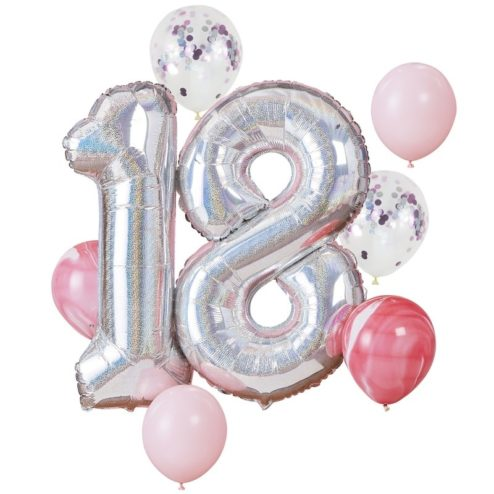 Folienballon Set 18. Geburtstag irisierend