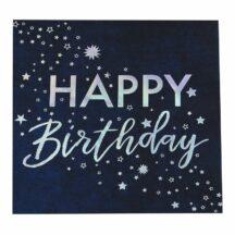 Papierserviette Happy Birthday irisierend