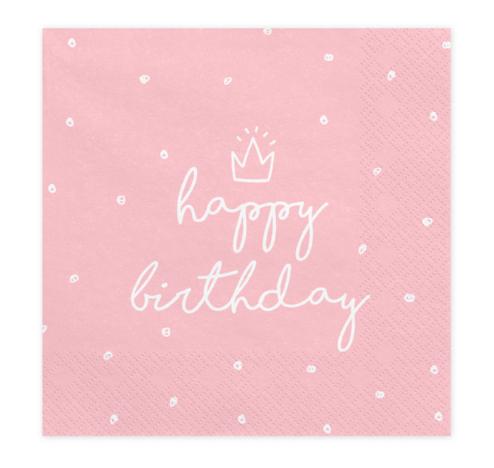 Papierserviette Happy Birthday rosa