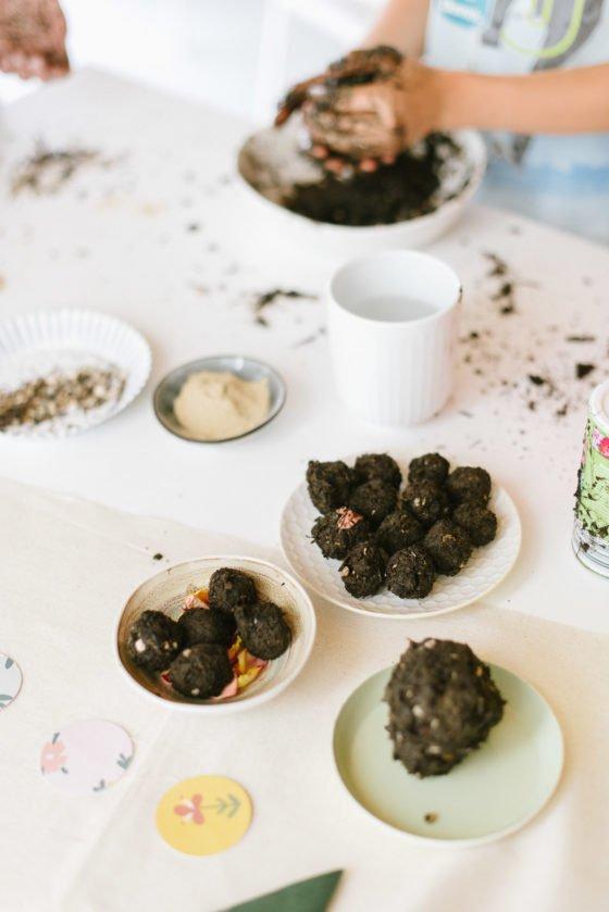 Kindergeburtstag Gaertchen Party Box - Seedbombs Samenbomben selbst machen
