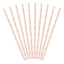 Papierstrohhalme light pink gold gestreift