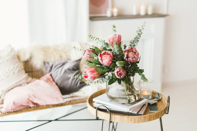 Protea Blumenstrauß mit Eukalyptus