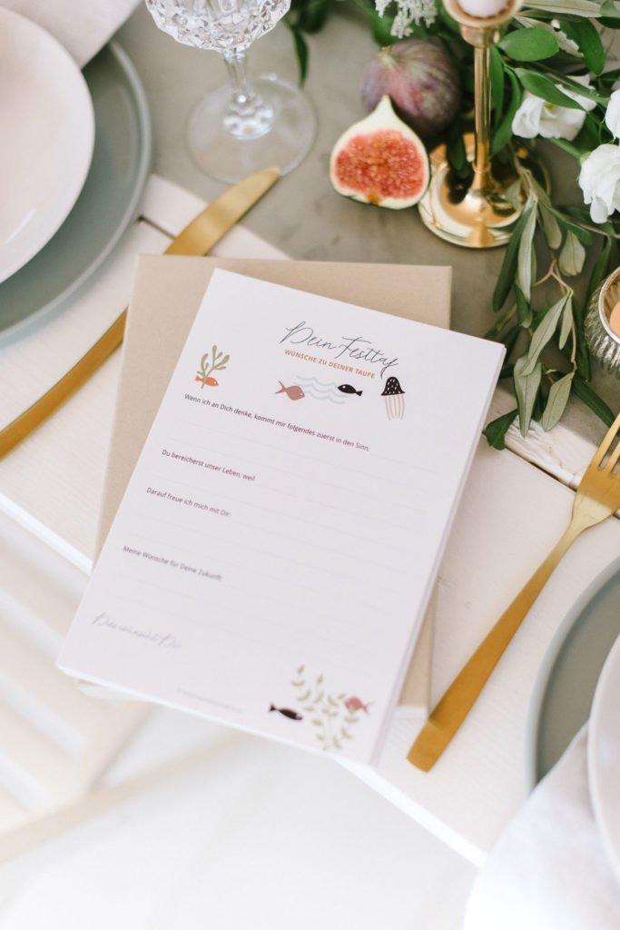 Gästebuchkarten als Erinnerung für den Täufling