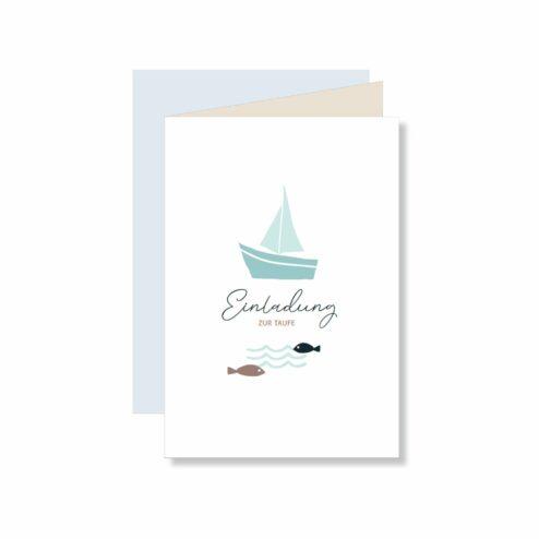 Einladungskarte Skandi Boot
