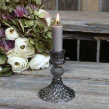 Kerzenständer Diamantschnitt grau