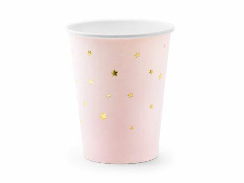 Pappbecher rosa mit goldenen Sternen