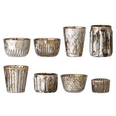 Teelichthalter aus Glas im Set 8 Stueck